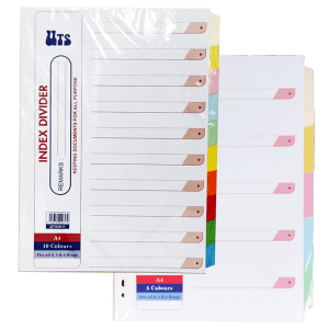 UTS INDEX DIVIDER 5 & 10 COLOUR TABS A4 160GSM (10 SETS)