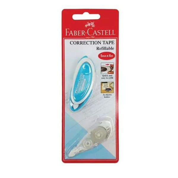 FABER-CASTELL 169102 REFILLABLE CORRECTION TAPE 5MM X 6M (TAPE + REFILL)1